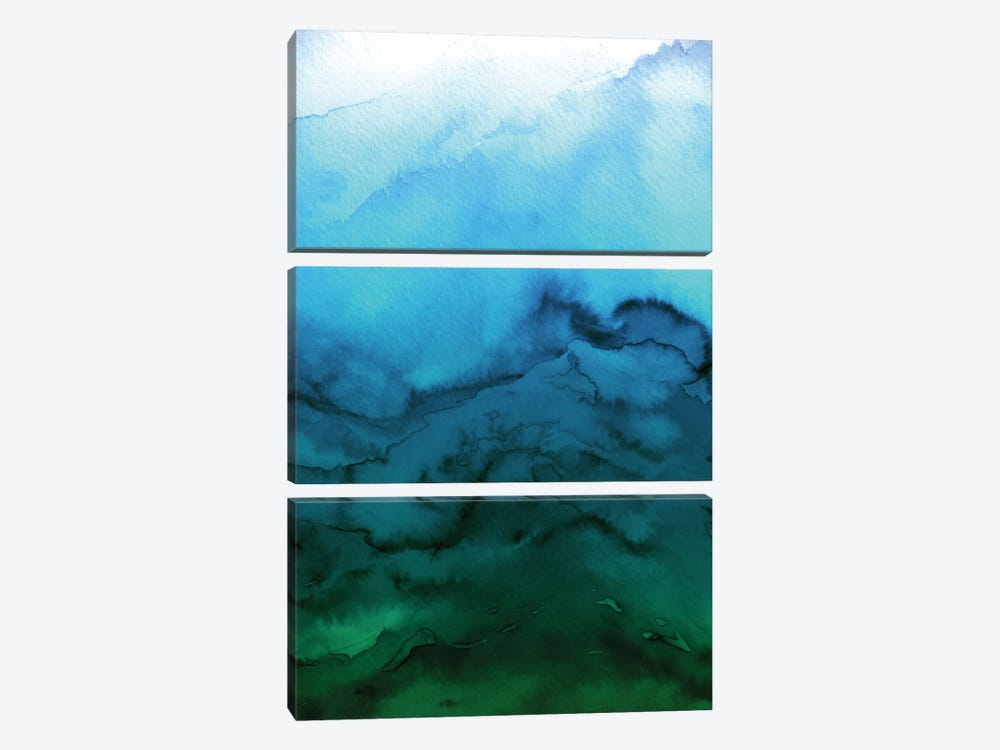 Winter Waves - Blue Green Ombre 3-piece Canvas Art