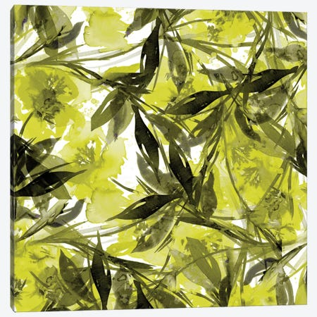 Floral Fiesta - Yellow & Gray Canvas Print #JDS9} by Julia Di Sano Art Print