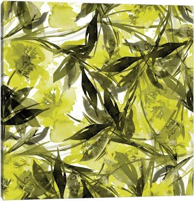 Floral Fiesta - Yellow & Gray Canvas Art Print