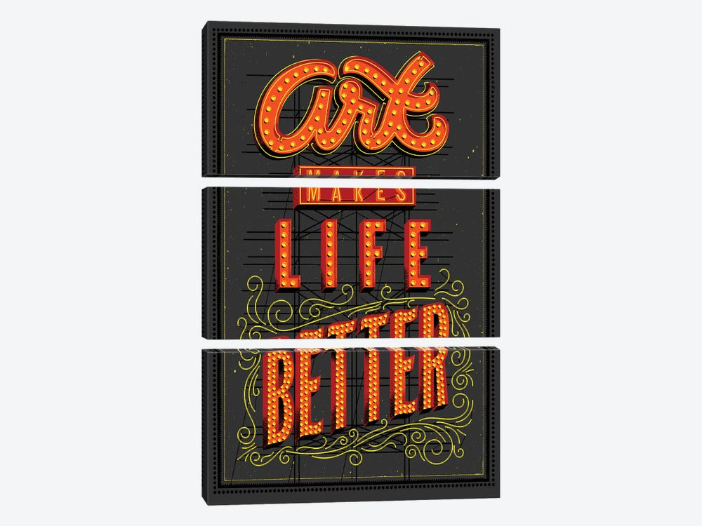 Art Makes Life Better by Jeff Rogers 3-piece Canvas Artwork