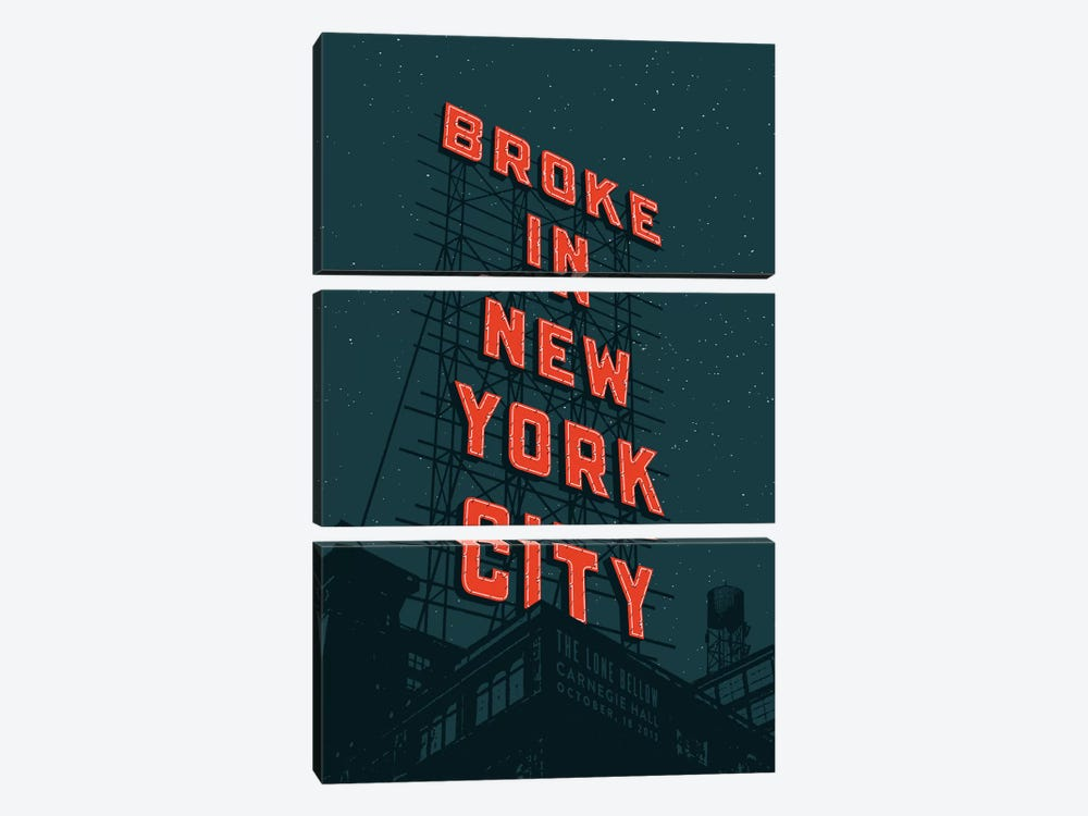 Broke In NYC by Jeff Rogers 3-piece Canvas Print
