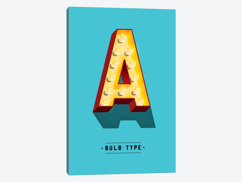 Bulb Type Font by Jeff Rogers 1-piece Canvas Artwork