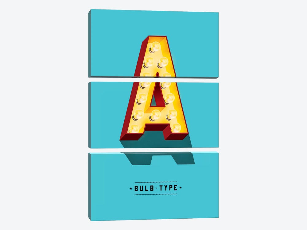 Bulb Type Font by Jeff Rogers 3-piece Canvas Artwork