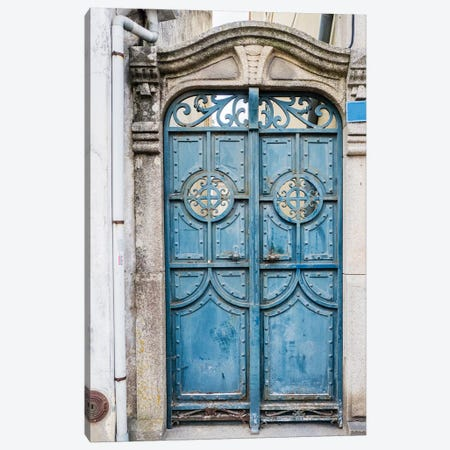 Portugal, Aveiro. A unique metal door on a home in the streets of Aveiro. Canvas Print #JEG11} by Julie Eggers Canvas Art