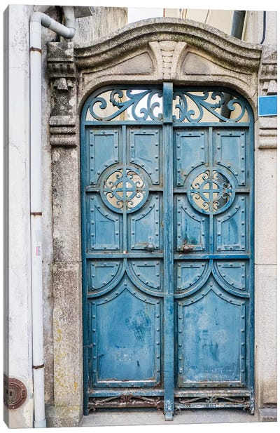 Portugal, Aveiro. A unique metal door on a home in the streets of Aveiro. Canvas Art Print