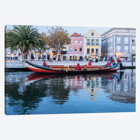 Portugal, Aveiro. Moliceiro boat on the canal. Canvas Print #JEG12} by Julie Eggers Canvas Artwork