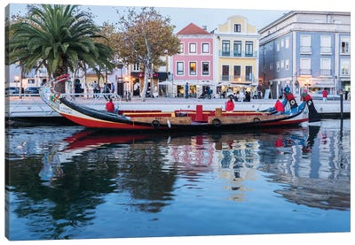 Portugal, Aveiro. Moliceiro boat on the canal. Canvas Art Print