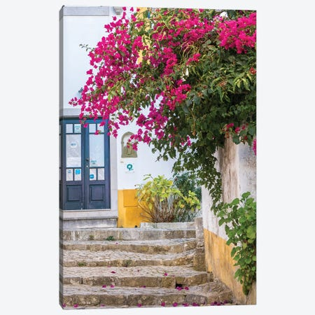 Portugal, Obidos. Beautiful bougainvillea blooming in the town of Obidos, Portugal. Canvas Print #JEG17} by Julie Eggers Art Print