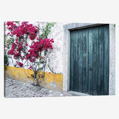 Portugal, Obidos. Beautiful bougainvillea blooming in the town of Obidos, Portugal. Canvas Print #JEG18} by Julie Eggers Canvas Artwork
