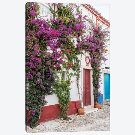 Portugal, Obidos. Beautiful bougainvillea blooming in the town of Obidos, Portugal. Canvas Print #JEG19} by Julie Eggers Canvas Artwork