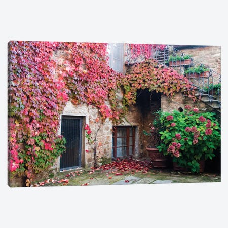 Ivy-Covered Building, Castello di Volpaia, Italy Canvas Print #JEG1} by Julie Eggers Canvas Print