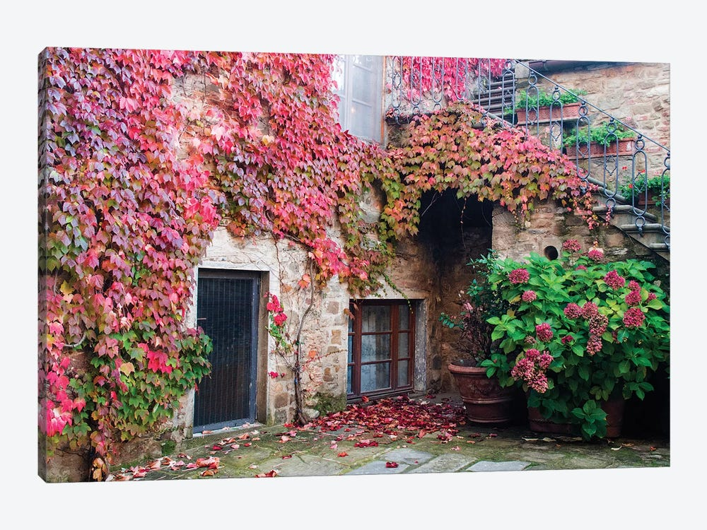 Ivy-Covered Building, Castello di Volpaia, Italy by Julie Eggers 1-piece Canvas Art