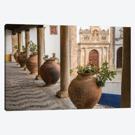 Portugal, Obidos. Ceramic pots adorn a ledge along a building. Canvas Print #JEG21} by Julie Eggers Canvas Print
