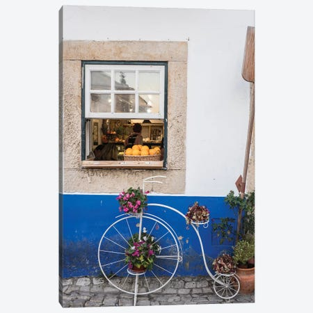 Portugal, Obidos. Cute bicycle planter in front of a bakery in the walled city of Obidos. Canvas Print #JEG22} by Julie Eggers Canvas Art Print
