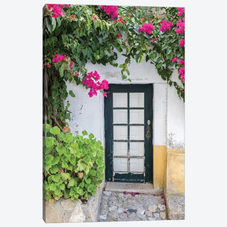 Portugal, Obidos. Doorway surrounded by a bougainvillea vine. Canvas Print #JEG23} by Julie Eggers Canvas Art Print