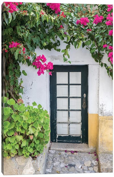 Portugal, Obidos. Doorway surrounded by a bougainvillea vine. Canvas Art Print