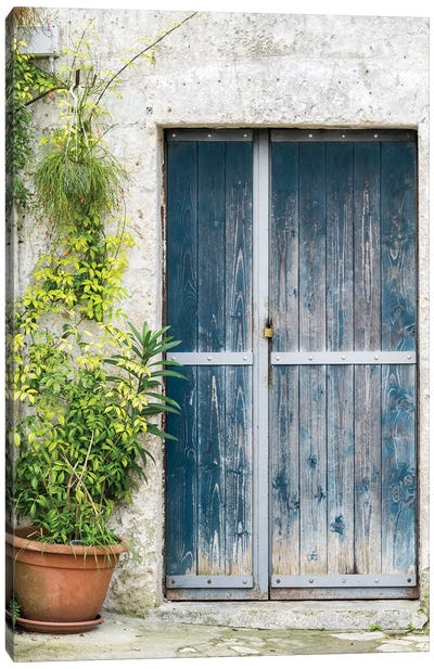 Blue Door On A Sassi House In Matera. Canvas Art Print