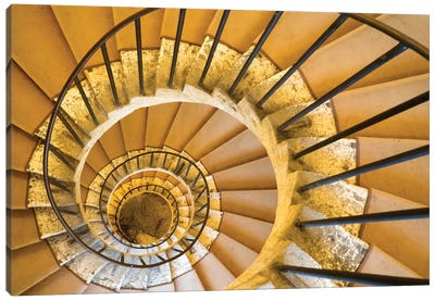 Italy, Lazio, Tivoli, Villa D'Este. Spiral Staircase. Canvas Art Print