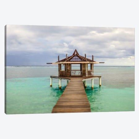 Caribbean, Honduras, Roatan. Dock leading to a gazebo. Canvas Print #JEG37} by Julie Eggers Canvas Print