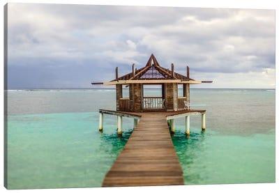 Caribbean, Honduras, Roatan. Dock leading to a gazebo. Canvas Art Print
