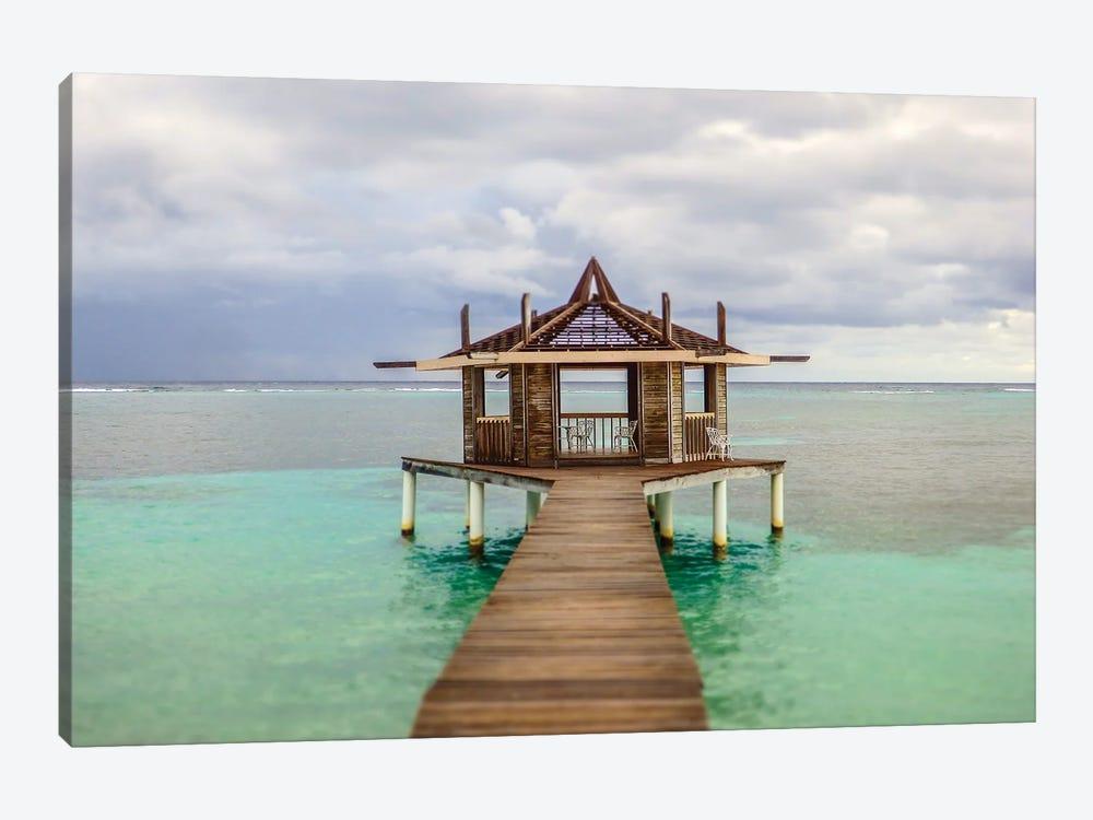 Caribbean, Honduras, Roatan. Dock leading to a gazebo. by Julie Eggers 1-piece Canvas Art