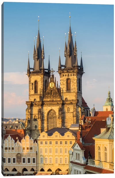 Czech Republic, Prague. Tyn Church in Old Town Square. Canvas Art Print