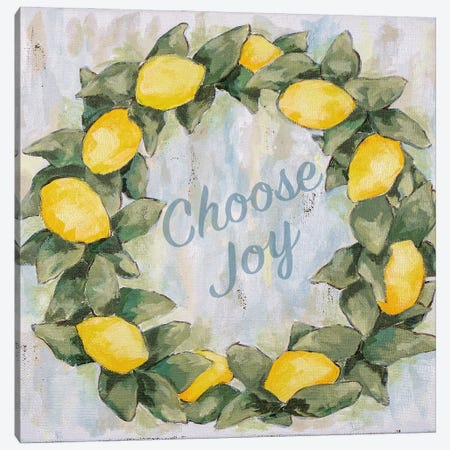 Choose Joy Lemon Wreath Canvas Print #JEH22} by Jennifer Holden Canvas Artwork