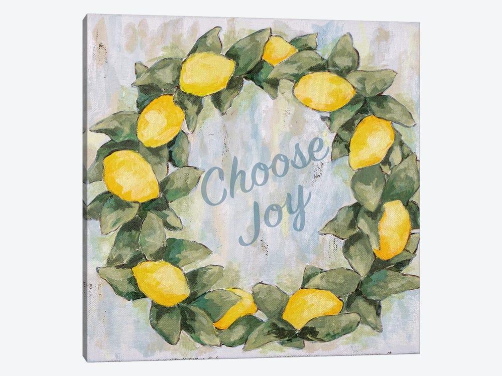 Choose Joy Lemon Wreath by Jennifer Holden 1-piece Canvas Art