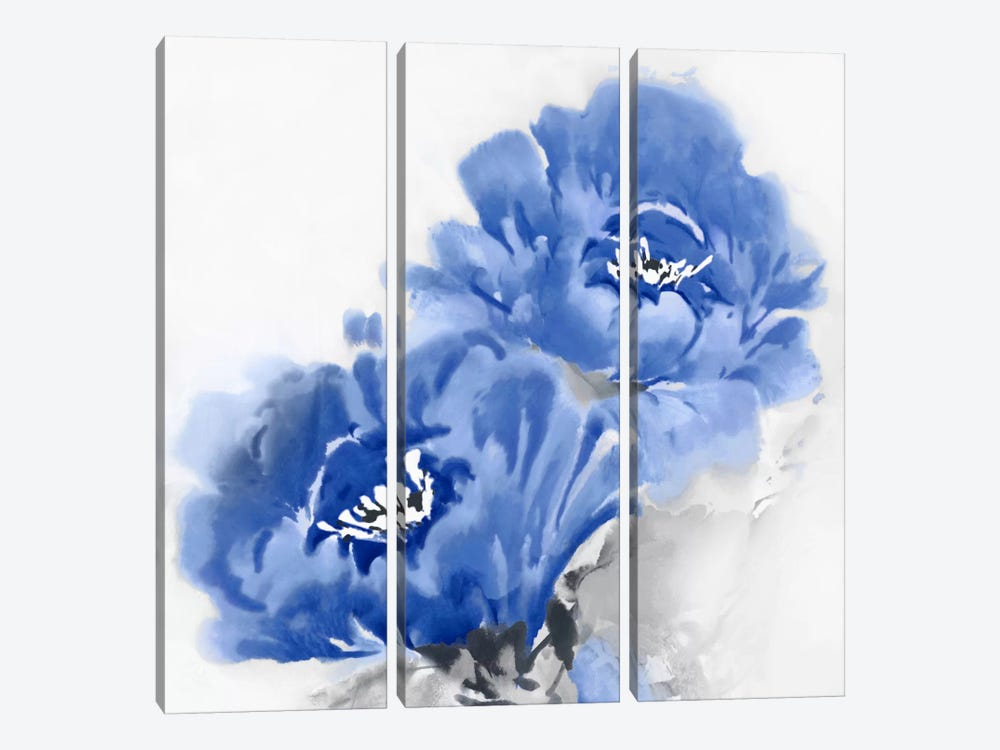 Flower Bloom In Indigo II by Jesse Stevens 3-piece Canvas Art Print