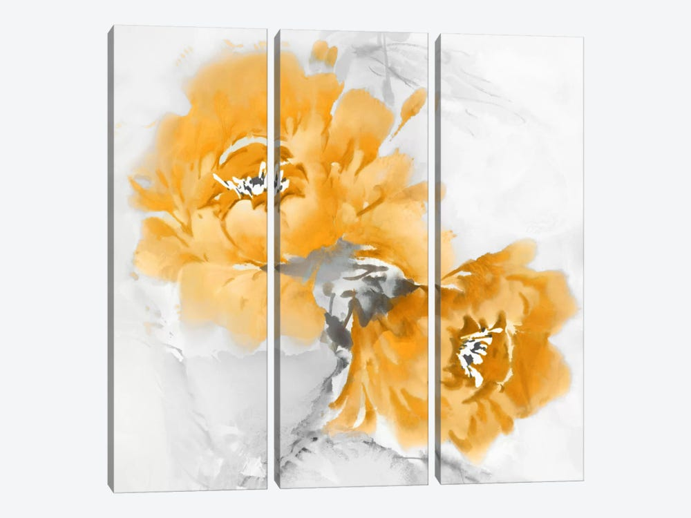 Flower Bloom In Mandarin I by Jesse Stevens 3-piece Canvas Artwork