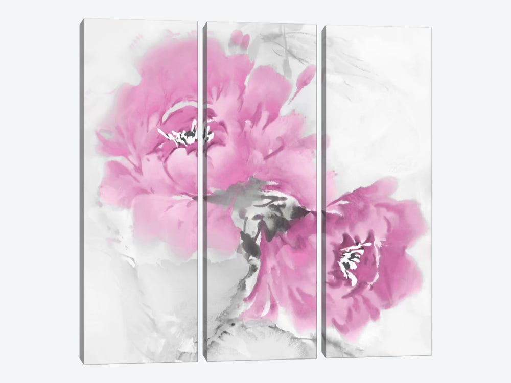 Flower Bloom In Pink I by Jesse Stevens 3-piece Canvas Art