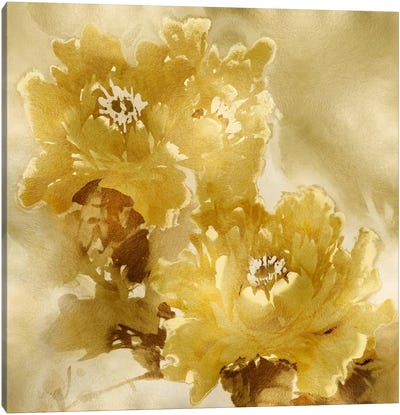 Flower Bloom On Gold I Canvas Art Print