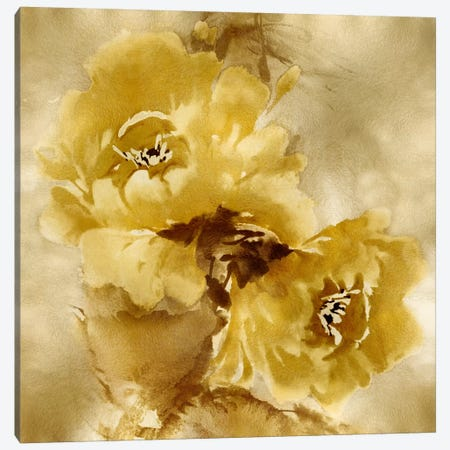 Flower Bloom On Gold II Canvas Print #JES18} by Jesse Stevens Canvas Artwork