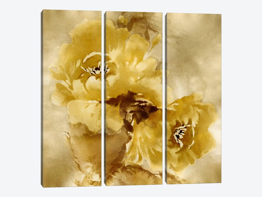 Flower Bloom On Gold II 3-piece Canvas Print