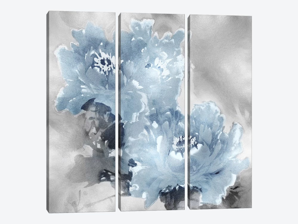 Flower Bloom On Silver I 3-piece Canvas Artwork