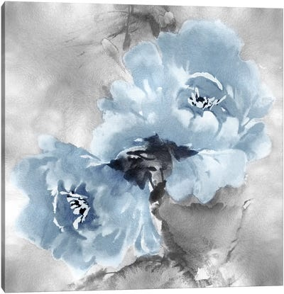Flower Bloom On Silver II Canvas Art Print