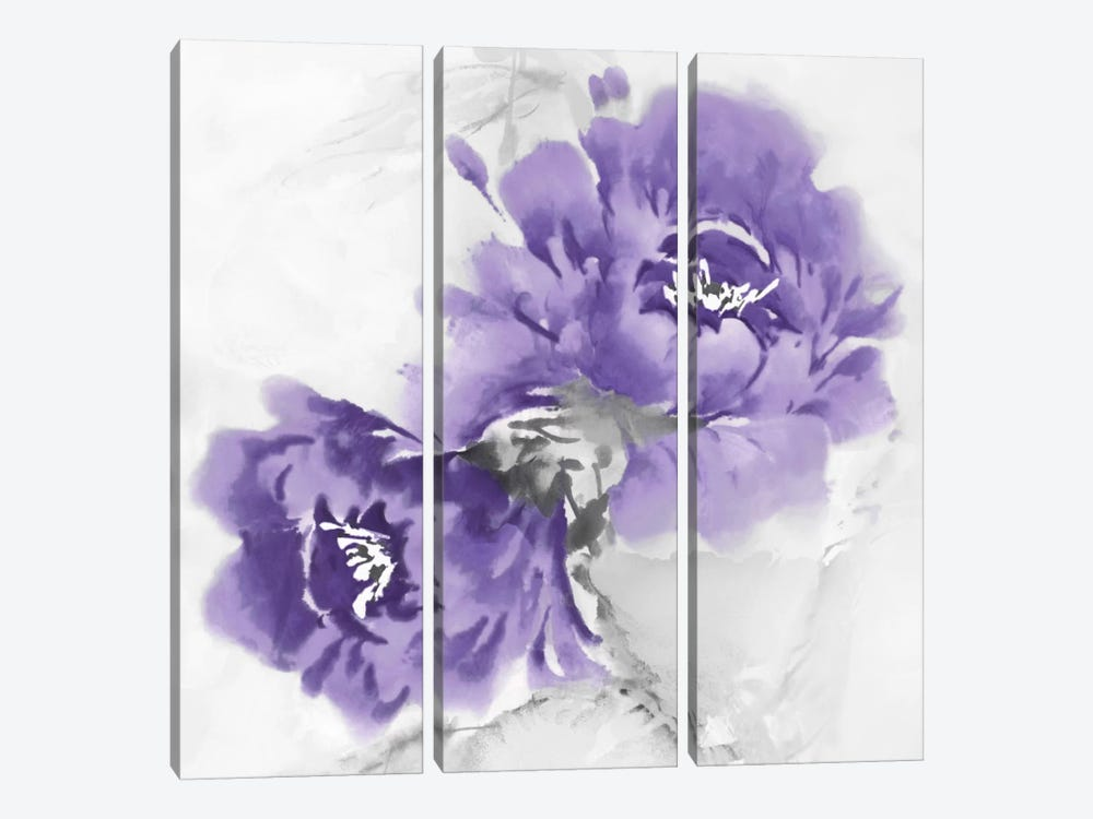 Flower Bloom In Amethyst II by Jesse Stevens 3-piece Canvas Art Print