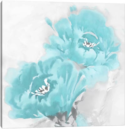 Flower Bloom In Aqua I Canvas Art Print