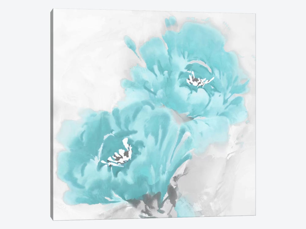 Flower Bloom In Aqua I by Jesse Stevens 1-piece Canvas Artwork