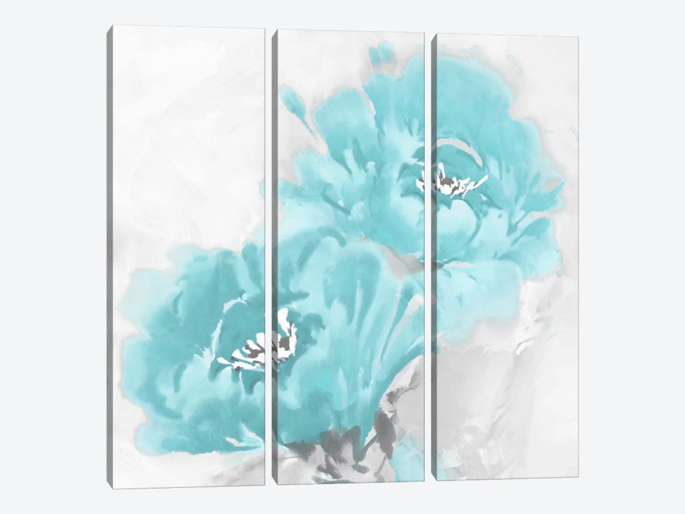 Flower Bloom In Aqua I by Jesse Stevens 3-piece Canvas Wall Art
