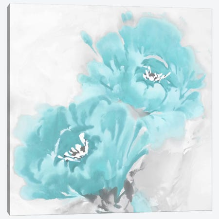 Flower Bloom In Aqua I Canvas Print #JES7} by Jesse Stevens Canvas Print