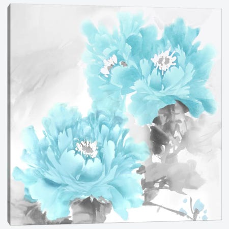 Flower Bloom In Aqua II Canvas Print #JES8} by Jesse Stevens Canvas Wall Art