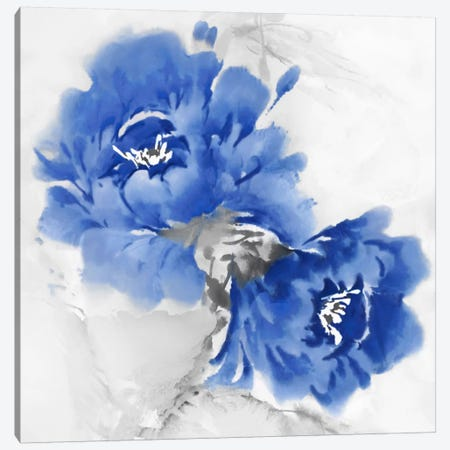 Flower Bloom In Indigo I Canvas Print #JES9} by Jesse Stevens Canvas Artwork
