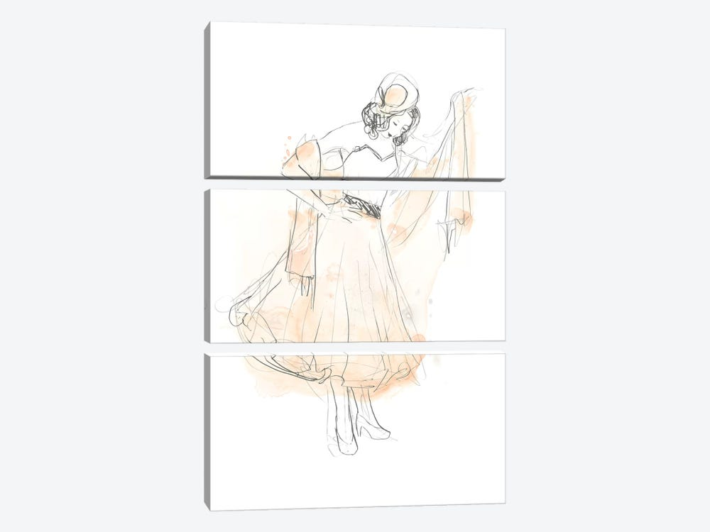 Blush & Grey Fashion I by June Erica Vess 3-piece Canvas Art Print