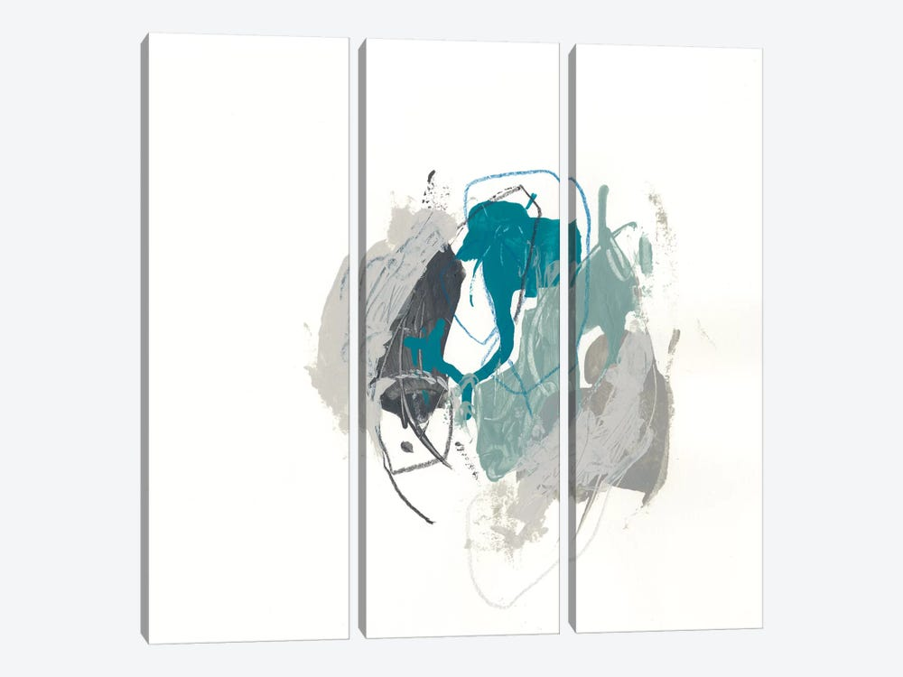 Teal Gesture IV by June Erica Vess 3-piece Canvas Wall Art