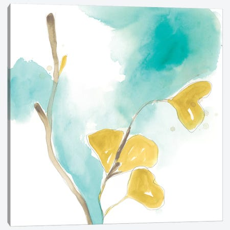 Teal and Ochre Ginko I Canvas Print #JEV1394} by June Erica Vess Canvas Art