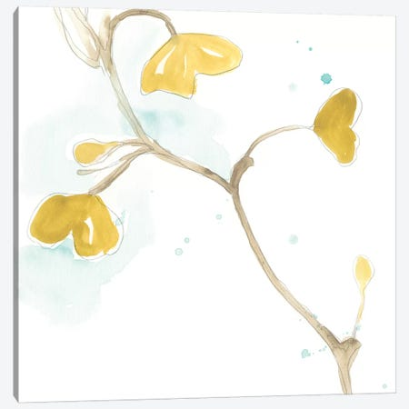 Teal and Ochre Ginko II Canvas Print #JEV1395} by June Erica Vess Canvas Artwork