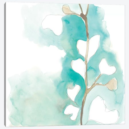 Teal and Ochre Ginko III Canvas Print #JEV1396} by June Erica Vess Canvas Artwork