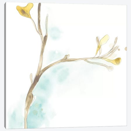 Teal and Ochre Ginko IV Canvas Print #JEV1397} by June Erica Vess Canvas Artwork