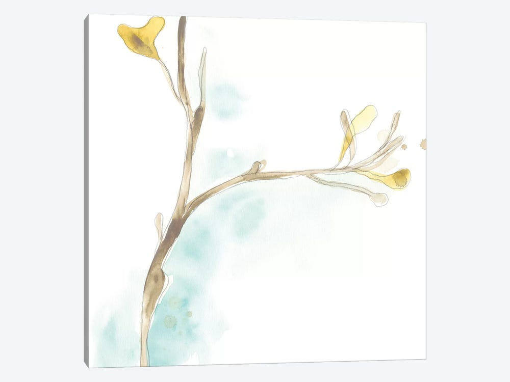 Teal and Ochre Ginko IV by June Erica Vess 1-piece Art Print
